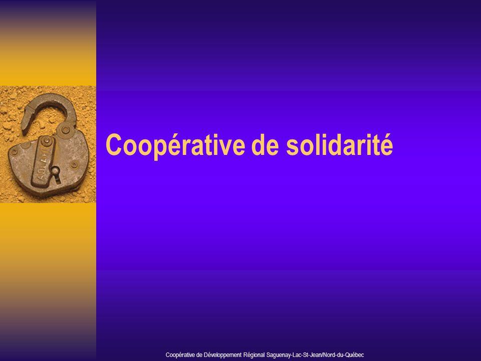 Coopérative de solidarité Coopérative de Développement Régional Saguenay-Lac-St-Jean/Nord-du-Québec