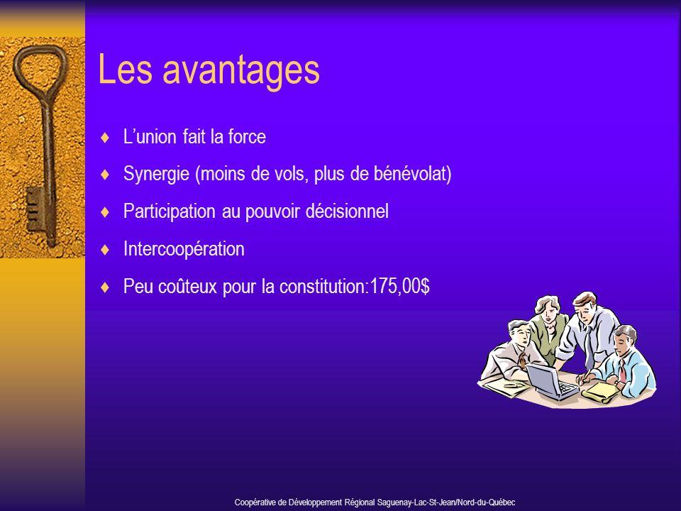 Les avantages  L'union fait la force  Synergie (moins de vols, plus de bénévolat)  Participation au pouvoir décisionnel  Intercoopération  Peu co
