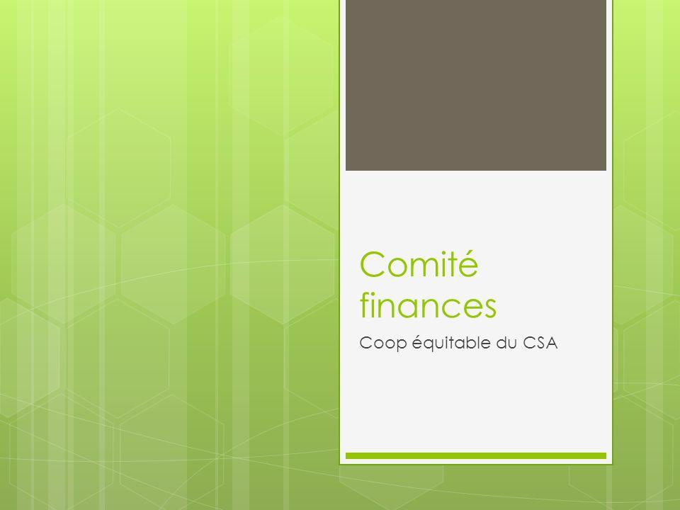 Comité finances Coop équitable du CSA