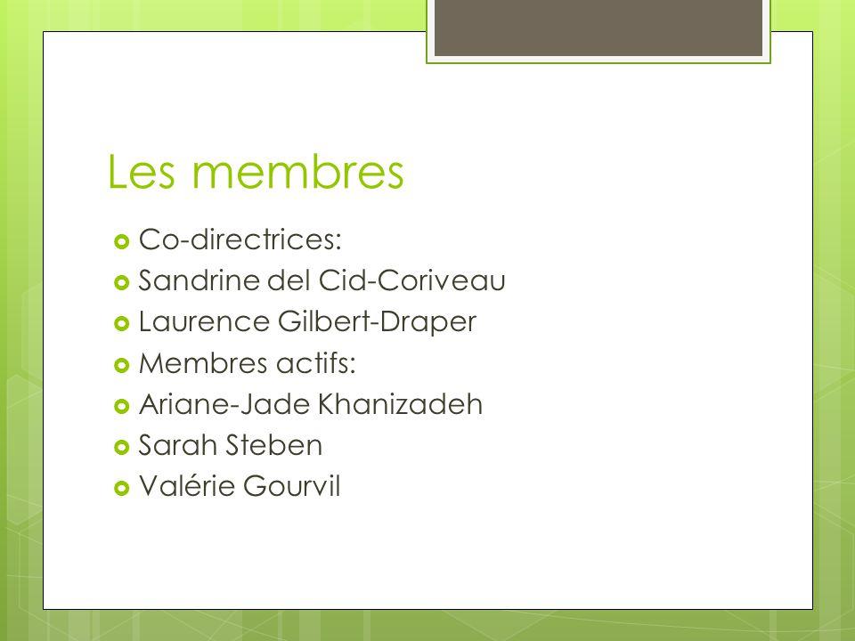 Les membres  Co-directrices:  Sandrine del Cid-Coriveau  Laurence Gilbert-Draper  Membres actifs:  Ariane-Jade Khanizadeh  Sarah Steben  Valérie Gourvil