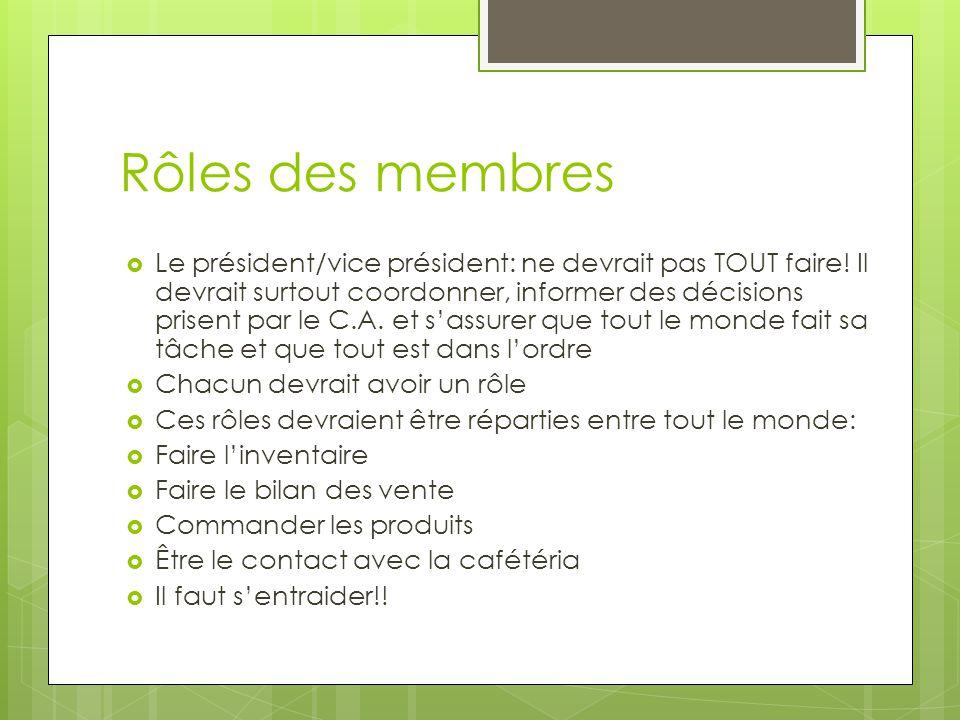 Rôles des membres  Le président/vice président: ne devrait pas TOUT faire.
