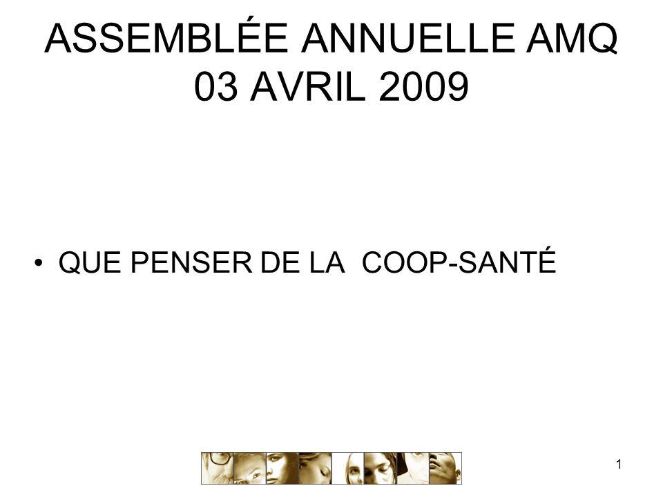 1 ASSEMBLÉE ANNUELLE AMQ 03 AVRIL 2009 QUE PENSER DE LA COOP-SANTÉ