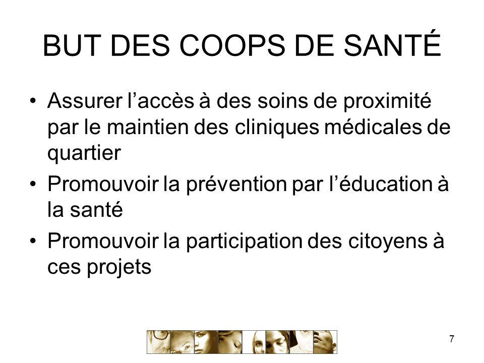 7 BUT DES COOPS DE SANTÉ Assurer l'accès à des soins de proximité par le maintien des cliniques médicales de quartier Promouvoir la prévention par l'éducation à la santé Promouvoir la participation des citoyens à ces projets