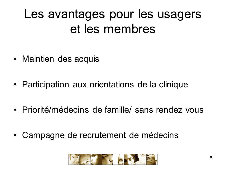 8 Les avantages pour les usagers et les membres Maintien des acquis Participation aux orientations de la clinique Priorité/médecins de famille/ sans rendez vous Campagne de recrutement de médecins