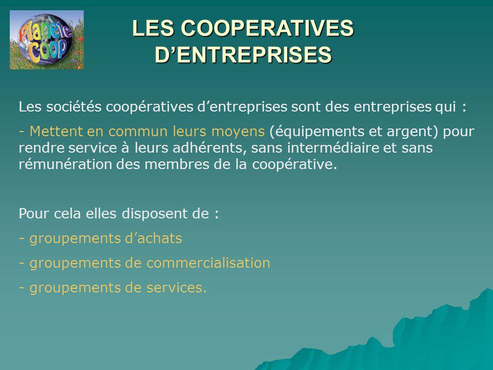 LES COOPERATIVES D'ENTREPRISES Les sociétés coopératives d'entreprises sont des entreprises qui : - Mettent en commun leurs moyens (équipements et argent) pour rendre service à leurs adhérents, sans intermédiaire et sans rémunération des membres de la coopérative.