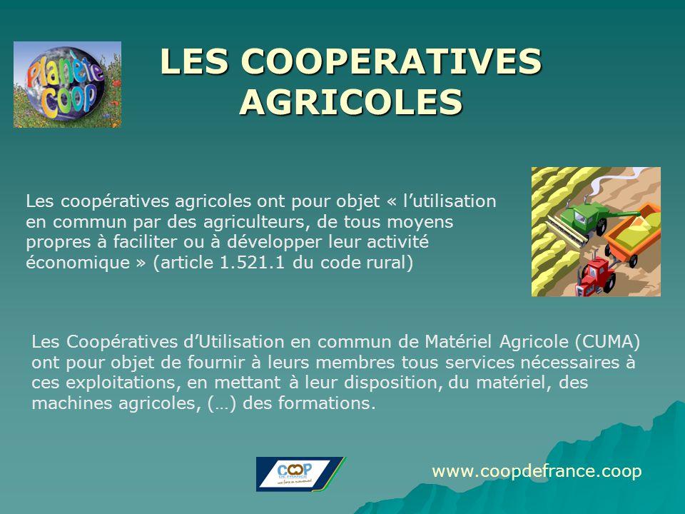 LES COOPERATIVES AGRICOLES Les coopératives agricoles ont pour objet « l'utilisation en commun par des agriculteurs, de tous moyens propres à facilite