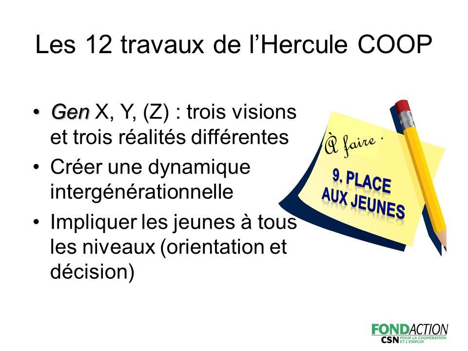 GenGen X, Y, (Z) : trois visions et trois réalités différentes Créer une dynamique intergénérationnelle Impliquer les jeunes à tous les niveaux (orientation et décision) À faire Les 12 travaux de l'Hercule COOP