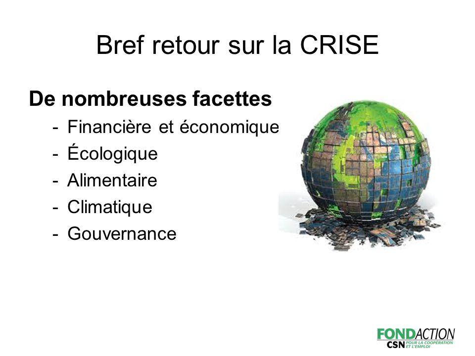 Bref retour sur la CRISE De nombreuses facettes -Financière et économique -Écologique -Alimentaire -Climatique -Gouvernance