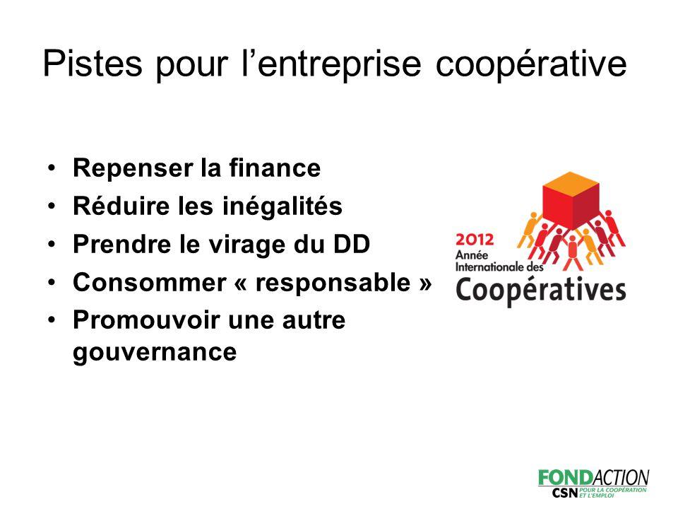 Pistes pour l'entreprise coopérative Repenser la finance Réduire les inégalités Prendre le virage du DD Consommer « responsable » Promouvoir une autre gouvernance
