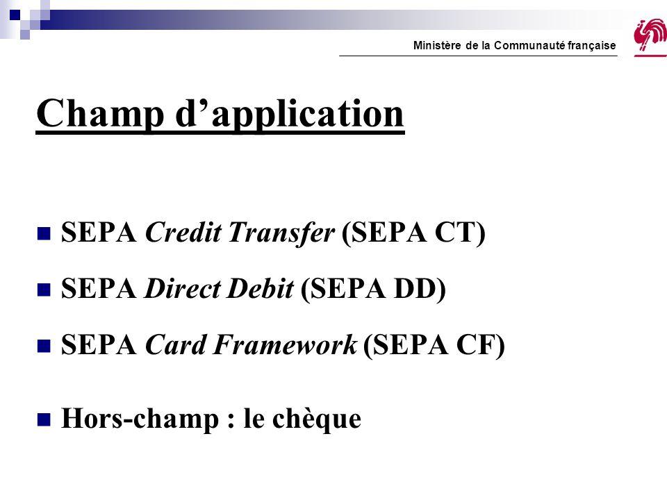 Champ d'application SEPA Credit Transfer (SEPA CT) SEPA Direct Debit (SEPA DD) SEPA Card Framework (SEPA CF) Hors-champ : le chèque Ministère de la Co