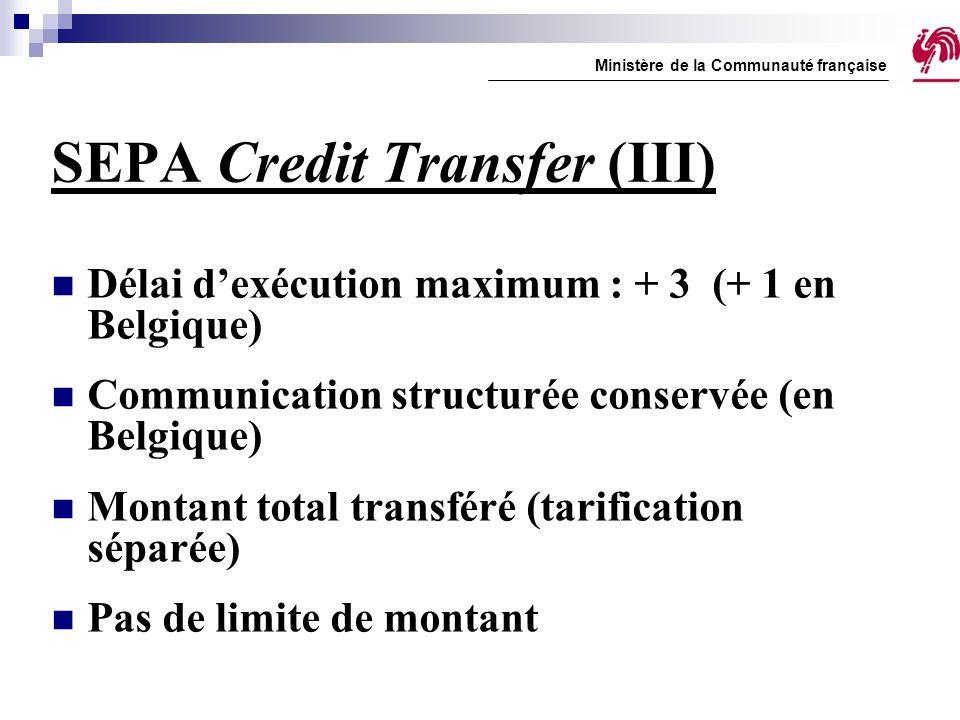 SEPA Credit Transfer (III) Délai d'exécution maximum : + 3 (+ 1 en Belgique) Communication structurée conservée (en Belgique) Montant total transféré
