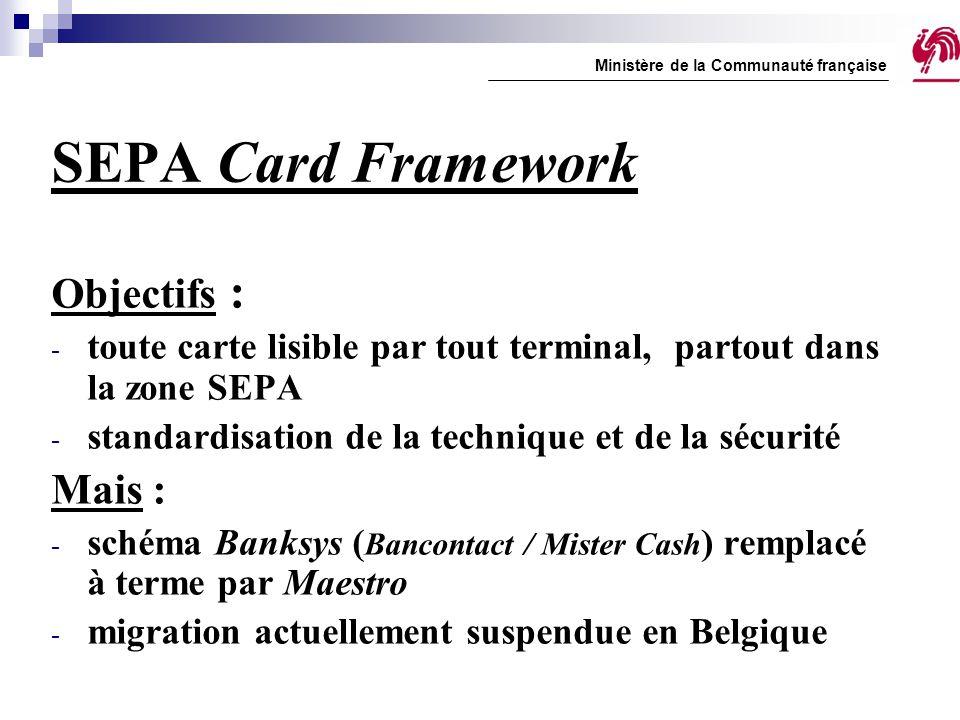 SEPA Card Framework Objectifs : - toute carte lisible par tout terminal, partout dans la zone SEPA - standardisation de la technique et de la sécurité