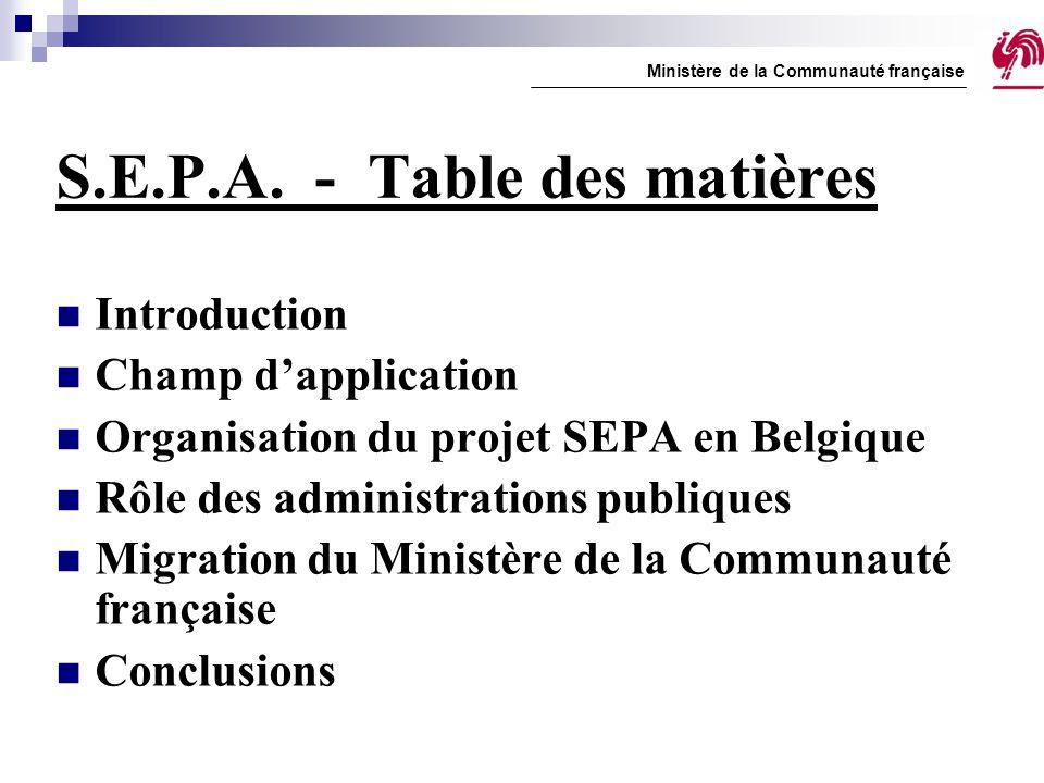 S.E.P.A. - Table des matières Introduction Champ d'application Organisation du projet SEPA en Belgique Rôle des administrations publiques Migration du