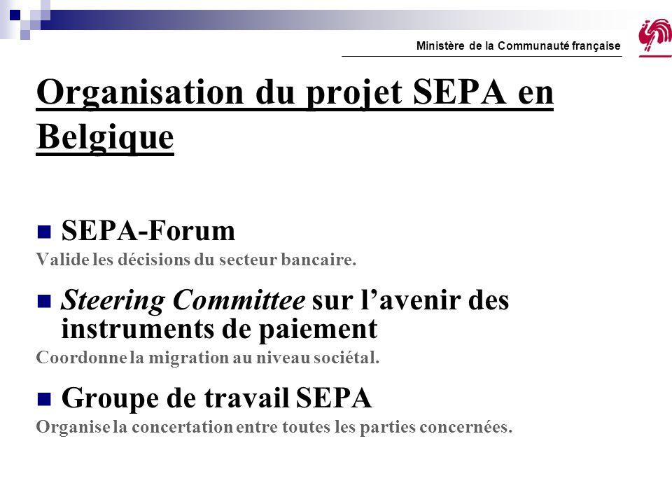 Organisation du projet SEPA en Belgique SEPA-Forum Valide les décisions du secteur bancaire. Steering Committee sur l'avenir des instruments de paieme
