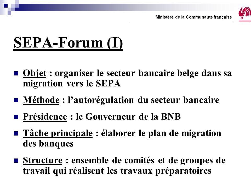SEPA-Forum (I) Objet : organiser le secteur bancaire belge dans sa migration vers le SEPA Méthode : l'autorégulation du secteur bancaire Présidence :
