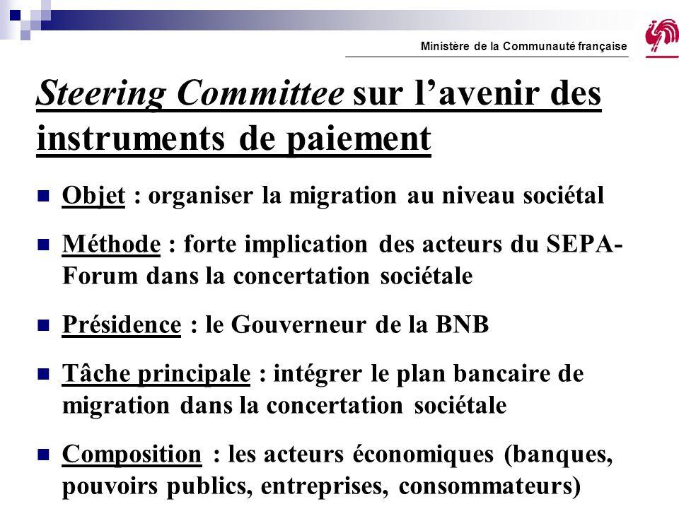 Steering Committee sur l'avenir des instruments de paiement Objet : organiser la migration au niveau sociétal Méthode : forte implication des acteurs