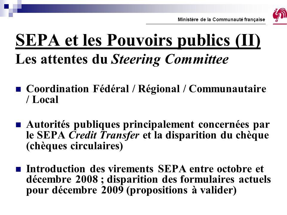 SEPA et les Pouvoirs publics (II) Les attentes du Steering Committee Coordination Fédéral / Régional / Communautaire / Local Autorités publiques princ