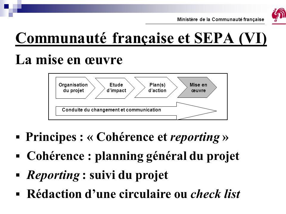 Communauté française et SEPA (VI) La mise en œuvre Ministère de la Communauté française  Principes : « Cohérence et reporting »  Cohérence : plannin