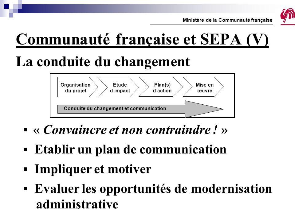 Communauté française et SEPA (V) La conduite du changement Ministère de la Communauté française  « Convaincre et non contraindre ! »  Etablir un pla