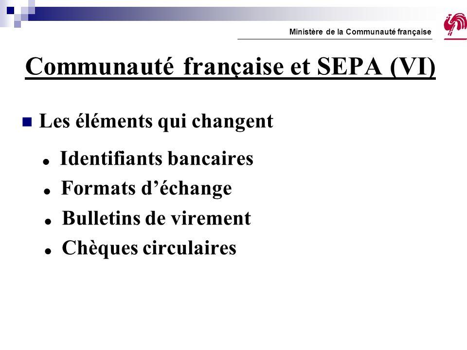 Communauté française et SEPA (VI) Les éléments qui changent  Identifiants bancaires  Formats d'échange  Bulletins de virement  Chèques circulaires