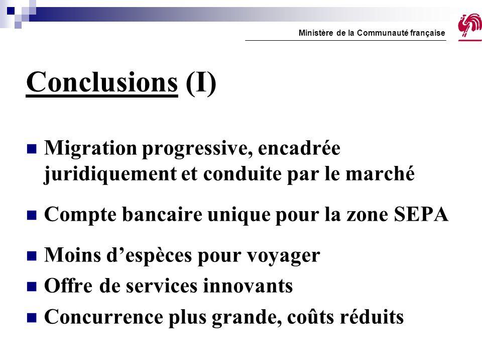 Conclusions (I) Migration progressive, encadrée juridiquement et conduite par le marché Compte bancaire unique pour la zone SEPA Moins d'espèces pour