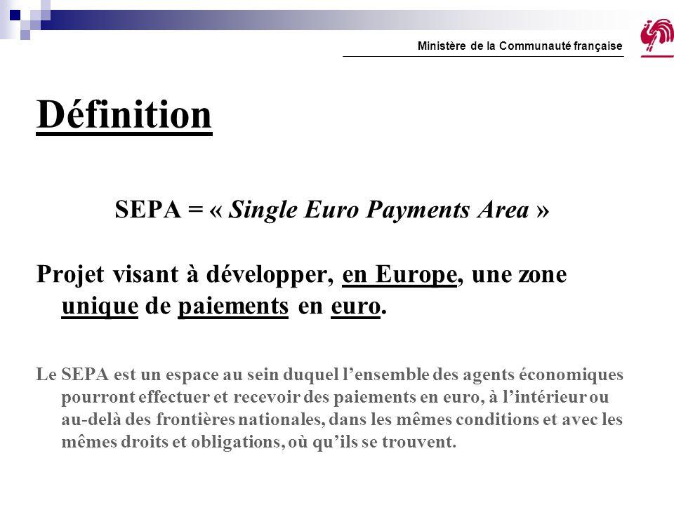 SEPA Credit Transfer (III) Délai d'exécution maximum : + 3 (+ 1 en Belgique) Communication structurée conservée (en Belgique) Montant total transféré (tarification séparée) Pas de limite de montant Ministère de la Communauté française