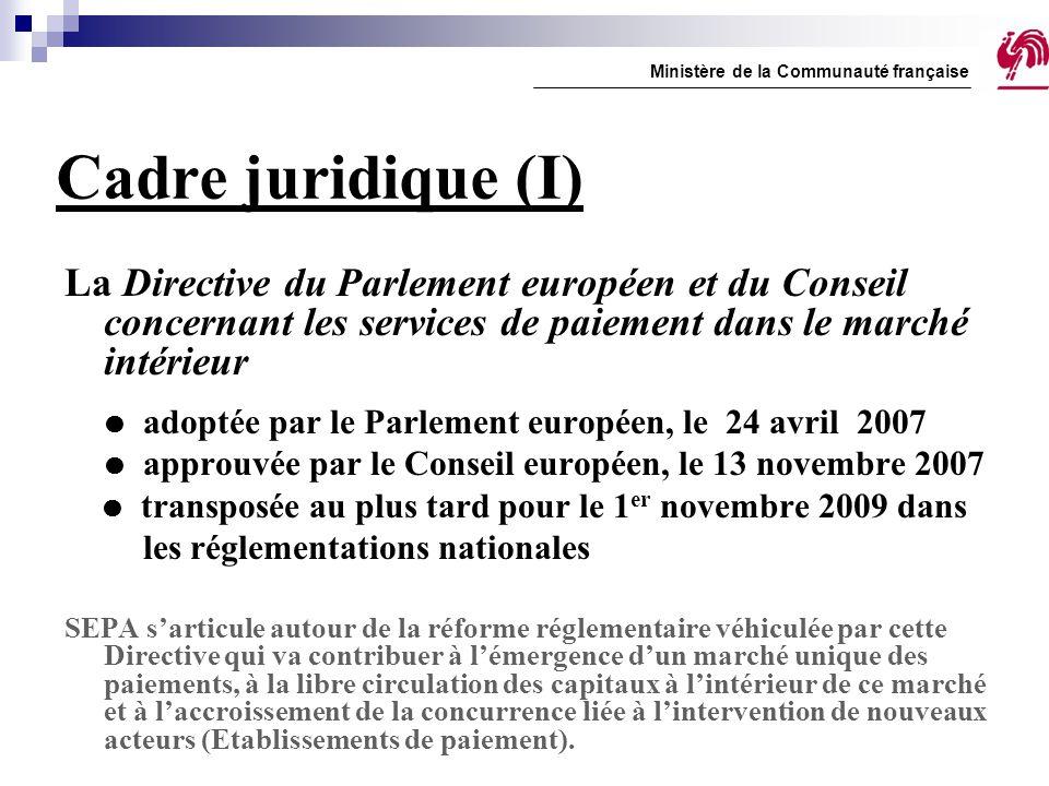 Cadre juridique (I) La Directive du Parlement européen et du Conseil concernant les services de paiement dans le marché intérieur  adoptée par le Par