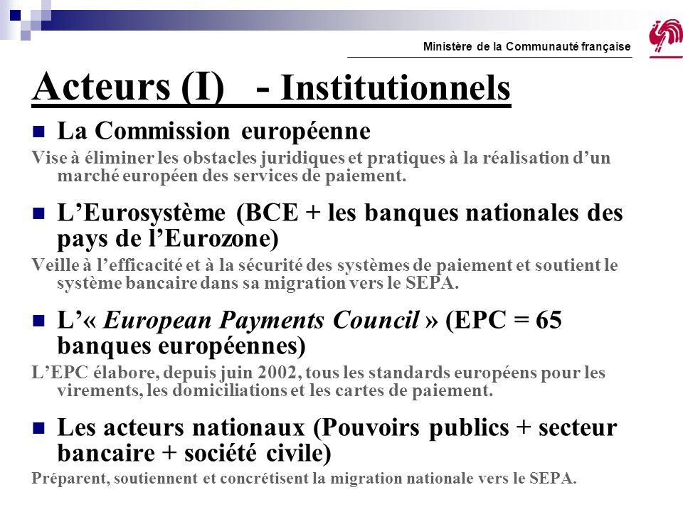 Acteurs (II) Espace géographique du SEPA - Les 27 pays de l'UE - L'Islande - La Norvège - Le Liechtenstein - La Suisse Ministère de la Communauté française