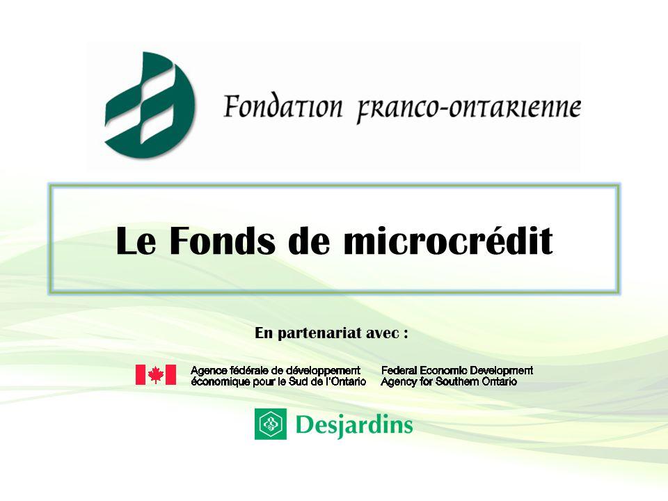 Le Fonds de microcrédit En partenariat avec :