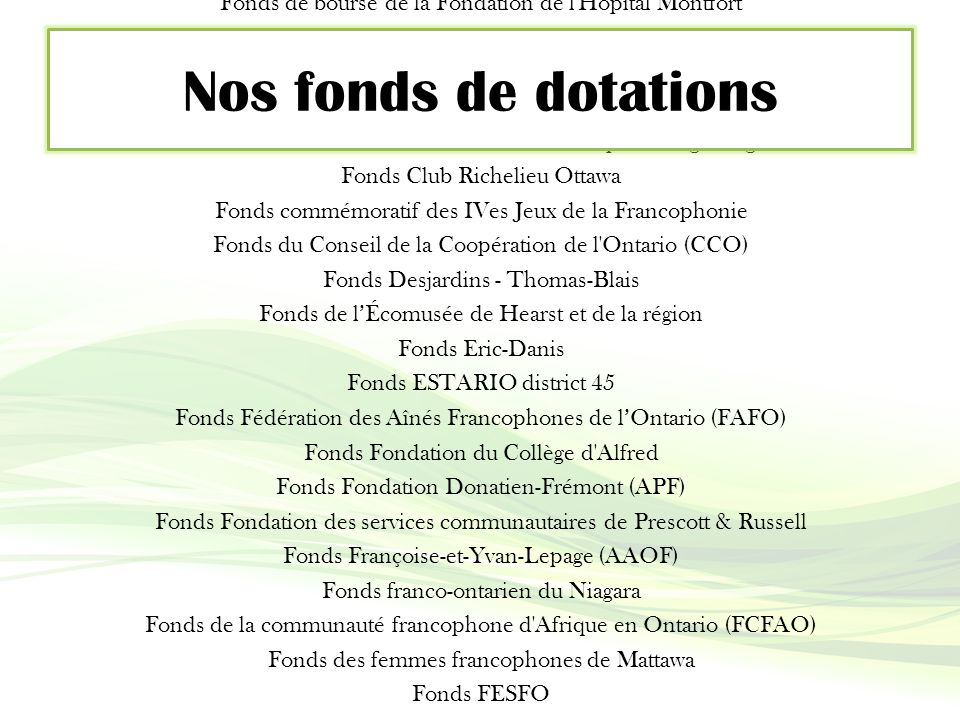 FondAction provincial Fonds jeunesse Claude-B.-Gingras Fonds AEFO / Francine-Morissette et France-Richard Fonds Alliance des caisses populaires de l'O