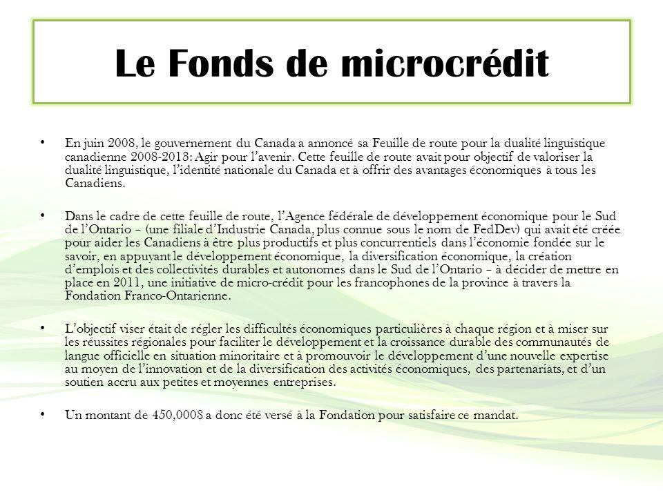 Le Fonds de microcrédit En juin 2008, le gouvernement du Canada a annoncé sa Feuille de route pour la dualité linguistique canadienne 2008-2013: Agir pour l'avenir.