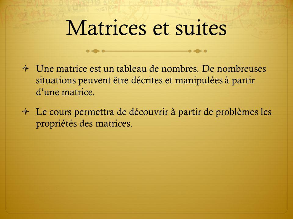 Matrices et suites  Une matrice est un tableau de nombres.