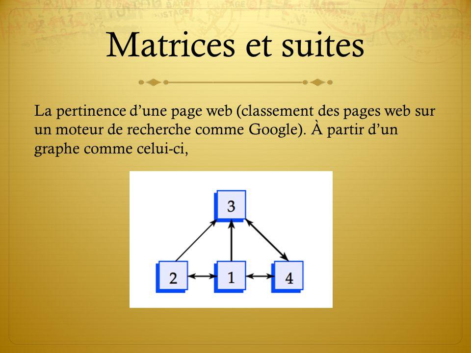 Matrices et suites La pertinence d'une page web (classement des pages web sur un moteur de recherche comme Google).