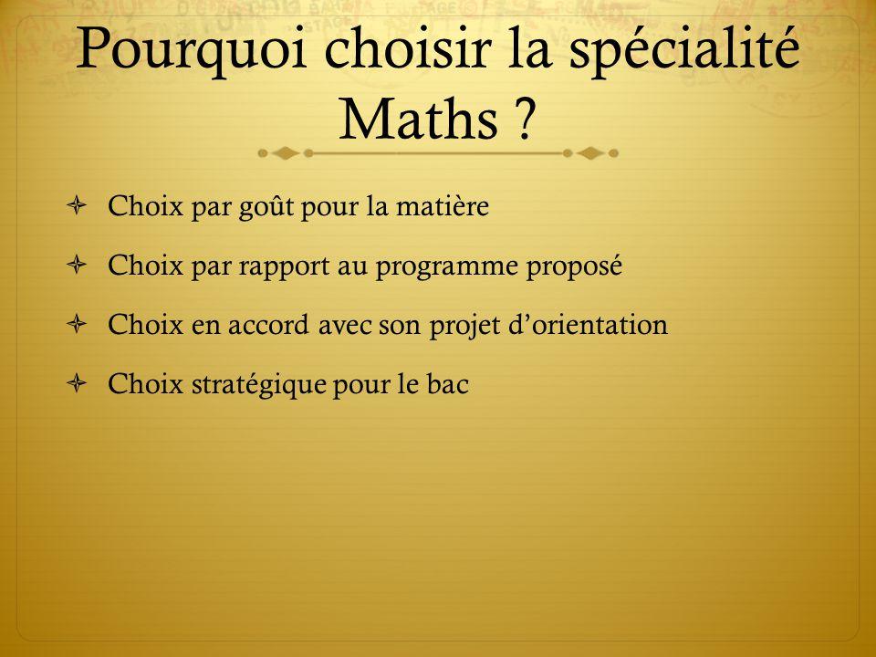 Pourquoi choisir la spécialité Maths .