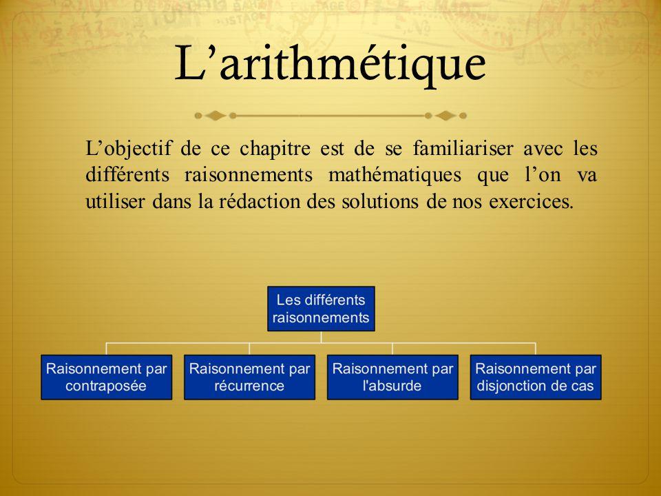 L'arithmétique Vous saurez tout (ou presque) sur les nombres entiers (critère de divisibilité, division euclidienne, nombres premiers, nombres de Fermat, de Mersenne, ….).