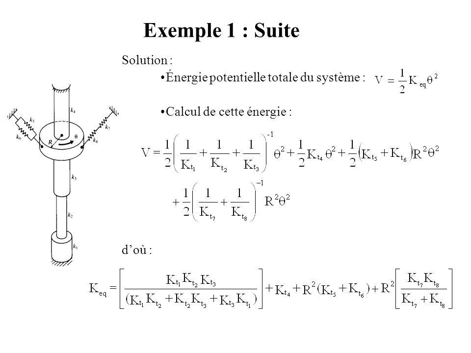 Exemple 1 : Constante Équivalente d'un Système de Ressorts (1) Énoncé : utiliser l'équivalence de l'énergie potentielle pour trouver la constante de t
