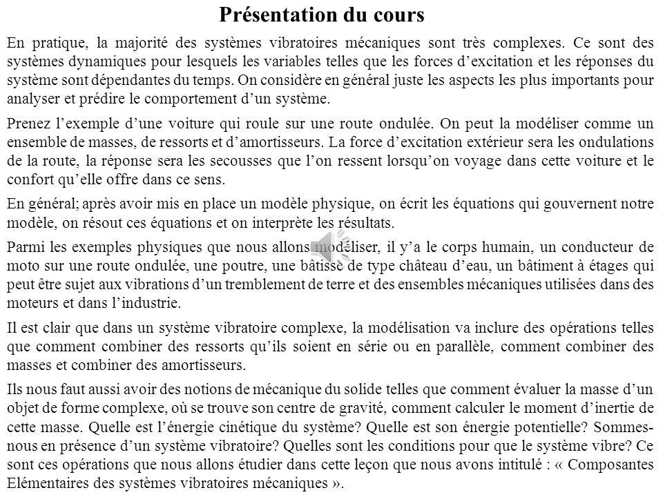 Physique 3 Vibrations Linéaires et Ondes Mécaniques Leçon n°2 Composantes Elémentaires des Systèmes Vibratoires