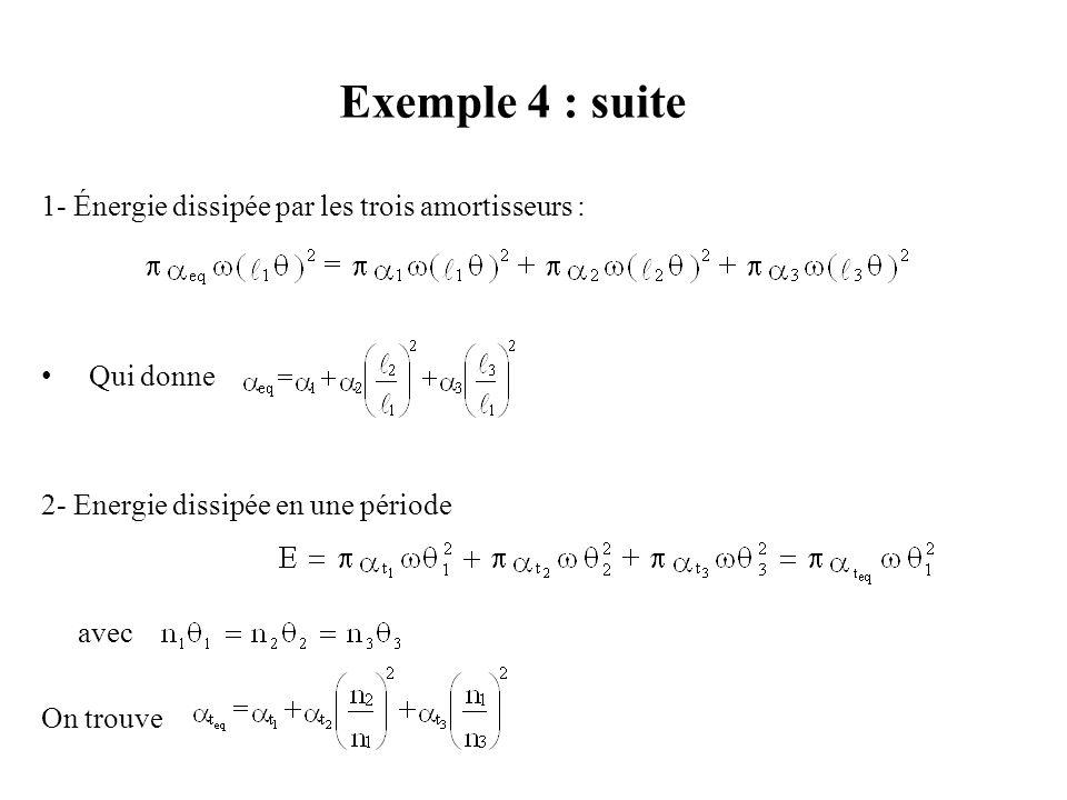 Exemple 4 : Combinaison d'Amortisseurs Énoncé : Trouver la constante d'amortissement équivalente dans les cas suivants : 1- quand trois amortisseurs s