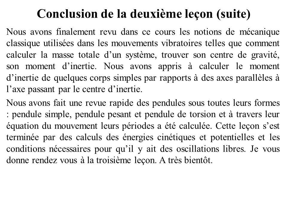 Conclusion de la deuxième leçon (suite) Parmi les composante élémentaires des systèmes vibratoires, il y'a les ressorts, les masses et les amortisseur