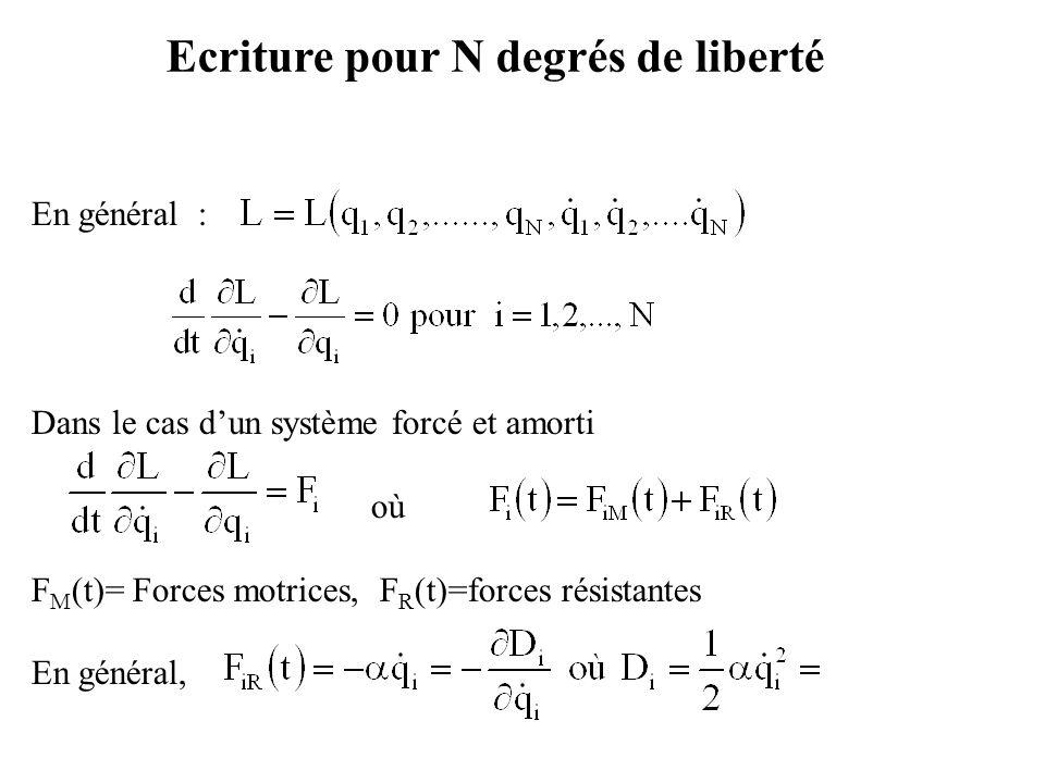 En général : Dans le cas d'un système forcé et amorti où F M (t)= Forces motrices, F R (t)=forces résistantes En général, Ecriture pour N degrés de li