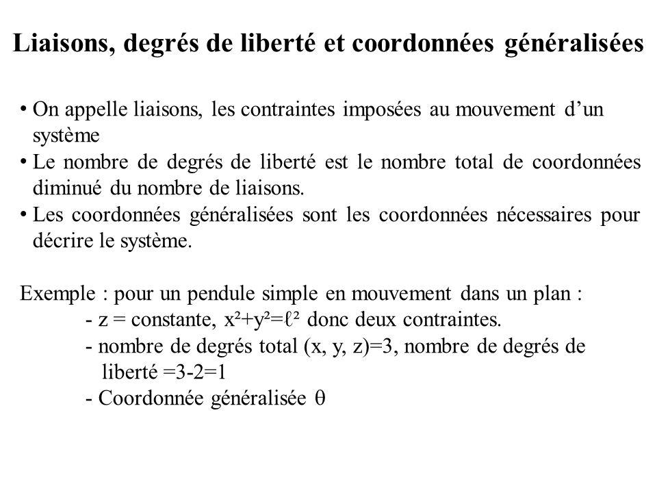 Liaisons, degrés de liberté et coordonnées généralisées On appelle liaisons, les contraintes imposées au mouvement d'un système Le nombre de degrés de