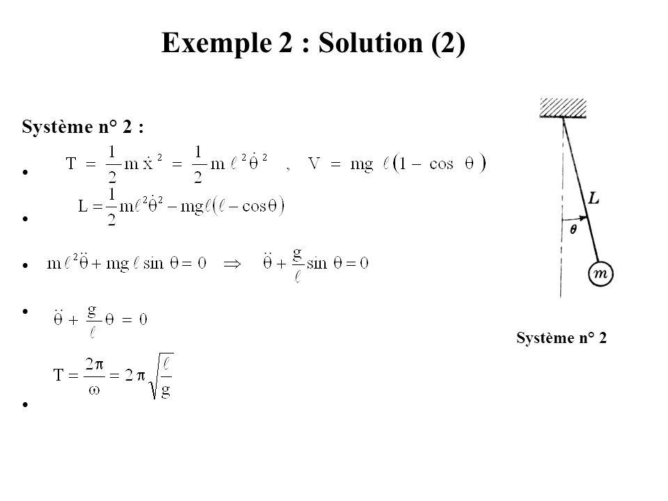 Exemple 2 : Solution (2) Système n° 2 : Système n° 2