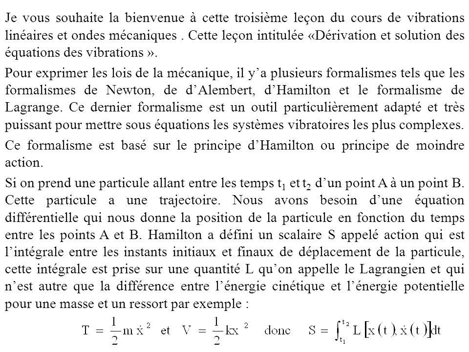 Je vous souhaite la bienvenue à cette troisième leçon du cours de vibrations linéaires et ondes mécaniques. Cette leçon intitulée «Dérivation et solut