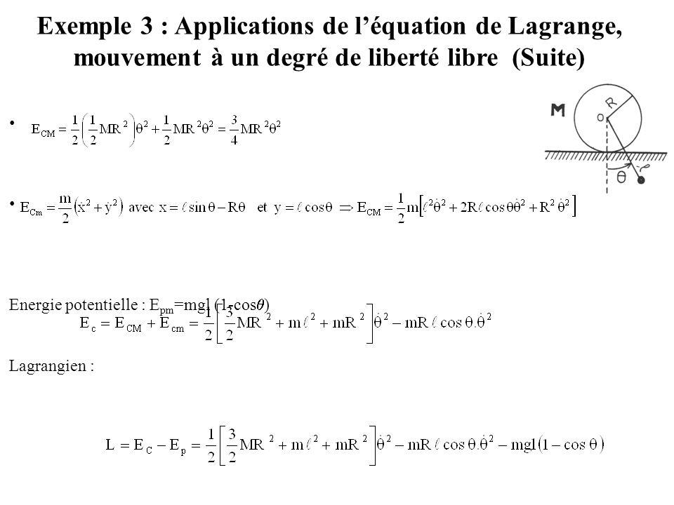 Exemple 3 : Applications de l'équation de Lagrange, mouvement à un degré de liberté libre (Suite) Energie potentielle : E pm =mgl (1-cos  ) Lagrangie