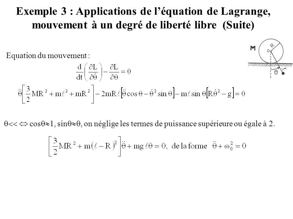 Exemple 3 : Applications de l'équation de Lagrange, mouvement à un degré de liberté libre (Suite) Equation du mouvement :   cos  1, sin , on