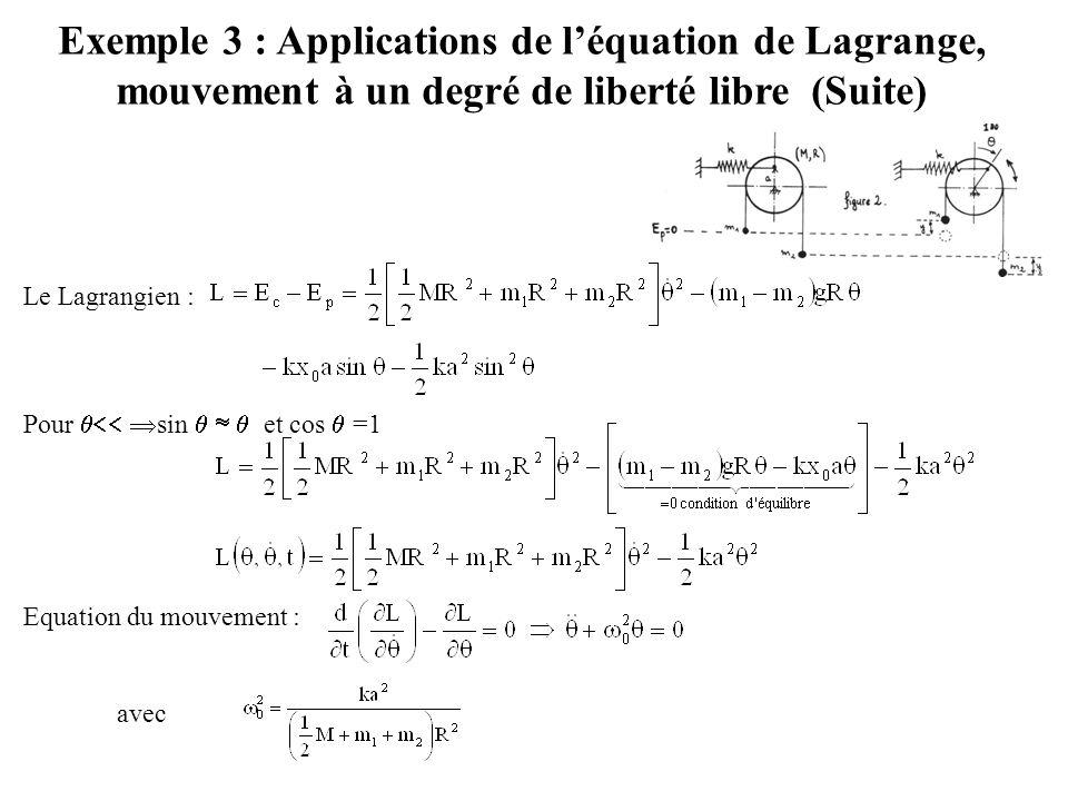 Exemple 3 : Applications de l'équation de Lagrange, mouvement à un degré de liberté libre (Suite) Le Lagrangien : Pour   sin    et cos  =1 Equ