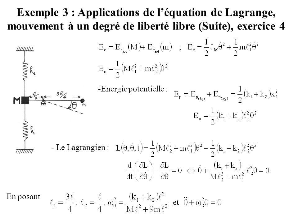 Exemple 3 : Applications de l'équation de Lagrange, mouvement à un degré de liberté libre (Suite), exercice 4 -Energie potentielle : - Le Lagrangien :