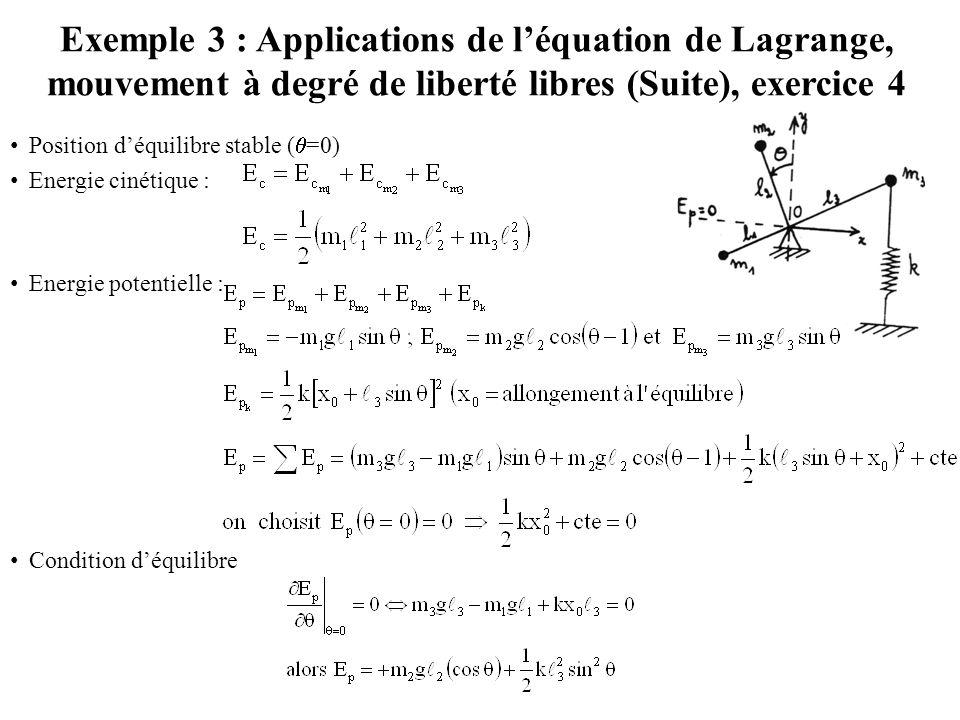 Position d'équilibre stable (  =0) Energie cinétique : Energie potentielle : Condition d'équilibre Exemple 3 : Applications de l'équation de Lagrange
