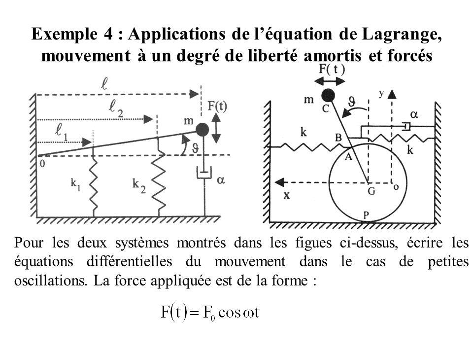 Pour les deux systèmes montrés dans les figues ci-dessus, écrire les équations différentielles du mouvement dans le cas de petites oscillations. La fo