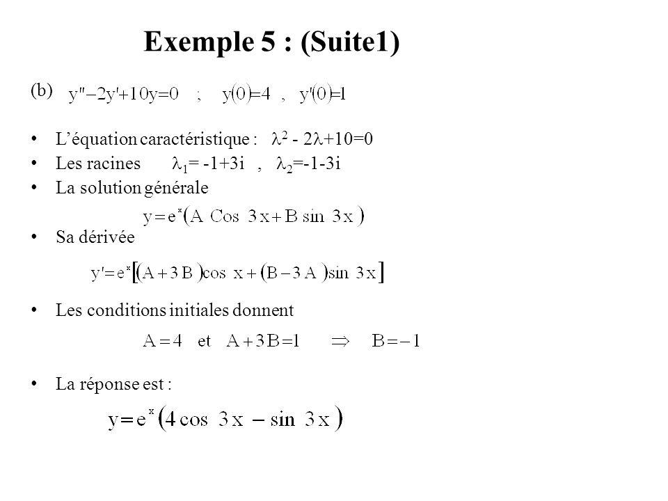 Exemple 5 : (Suite1) (b) L'équation caractéristique : 2 - 2 +10=0 Les racines 1 = -1+3i, 2 =-1-3i La solution générale Sa dérivée Les conditions initi